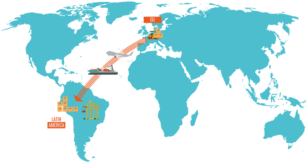 Shipping goods from Europe to Latin-South America